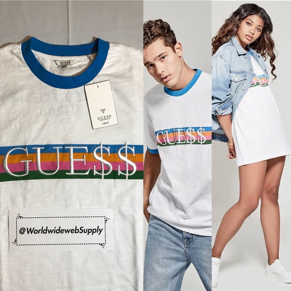 b50388b6cbf4 Guess Shirts | X Asap Rocky Logo Ringer Tee White Blue Sz M | Poshmark